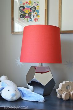 Progress on Olivia's room @Katerina@Lex&Liv #land of #nod between a rock and a lamp base #silver #red @The Land of Nod