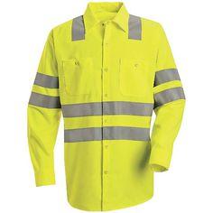 Red Kap Hi-Visibility Green Long Sleeve Shirt - Class 3 Level 2 X Striping Green Long Sleeve Shirt, Long Sleeve Shirts, Work Shirts, Work Wear, Trousers, Shirt Dress, Mens Tops, Outfits, Clothes