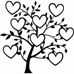 Three Heart Tree SVG file, SKU designed by Jennifer Wambach. ****tree with spots for three family photos**** Tree Silhouette, Silhouette Design, Silhouette Family, Family Tree Designs, Images Of Family Tree, Family Trees, Tree Templates, Printable Templates, Printable Art
