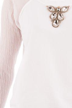 Jijil - Sudadera manga larga en algodón y seda blanca. 115,00 €