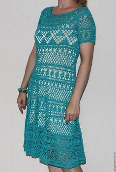 "Pattern crochet ""Baby-doll"". Купить Платье Беби-долл - бежевый, орнамент, вязаное платье, ажурное платье"