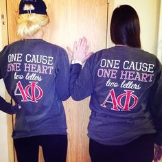 aphi philanthropy shirt on L, date function shirt on R?