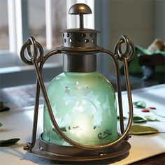 sea glass home decor | Etched-Glass Lantern