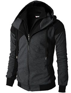 Men's Clothing - H2H Mens Fashion Double Zipper Closer Hoodie ZipUp With Two Tone Color * Check this awesome product by going to the link at the image. (This is an Amazon affiliate link)