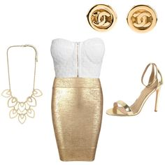 Goldalicious by faithywaffy on Polyvore featuring polyvore fashion style NLY Trend Posh Girl J/Slides Chanel