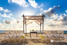 Heavenly light surrounds a white wedding gazebo at Le Blanc Resort in Cancun, Mexico. Image courtesy of #DreamArtPhotography.