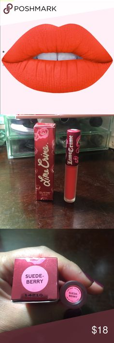 Lime Crime Velvetine Suede-berry Coral red liquid to matte lip stain. It comes in the box. It has been used at most 3x. Lime Crime Makeup Lipstick