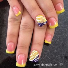 not digging the purple but love the yellow. Summer Nails