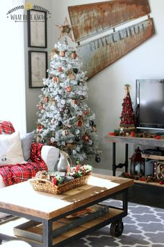 Rustic Lodge With All The Plaid Holiday And Christmas Decorations