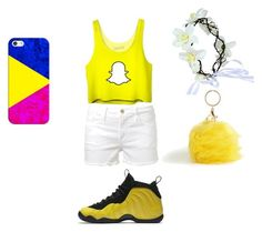 """""""yellow outfit for my neice"""" by queenonfleek09 on Polyvore featuring Frame Denim, Casetify, NIKE and Torrid"""