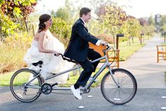 Bride and Groom riding off into happily ever after  Photography by http://larissacleveland.com, Wedding Planning by http://helpmegethitched.blogspot.com