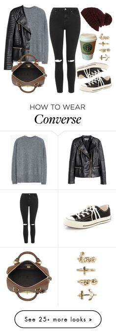 """""""Style #9736"""" by vany-alvarado on Polyvore featuring Topshop, MANGO, H&M, Mulberry, River Island, NLY Trend, Converse, women's clothing, women's fashion and women"""