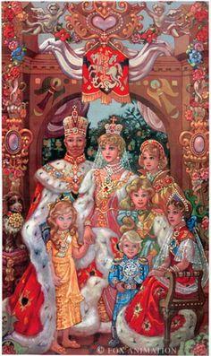 Royal Family painting from Anastasia cartoon (1997) el Zar Nicolas II con alexandra, Maria, Tatiana, Alexis, Olga y Anastasia. si tuvo varios hijos, por lo general mujeres. Alexandra es la esposa.