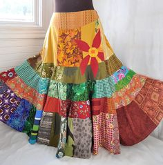 Sun Red Daisy  Long Patchwork skirt Hippie Boho by BarefootModiste, $148.00
