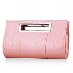 Graceful Patent Leather and Crocodile Print Design Women's Clutch Bag ($33) ❤ liked on Polyvore featuring bags, handbags, clutches, nastydress, pink patent leather purse, patent handbags, pink patent purse, croc purse and croco handbags