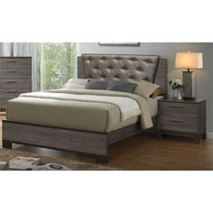 Furniture of America Althea Contemporary Gray Bedroom Set, Gray, California King Grey Bedroom Set, Queen Bedroom, Master Bedroom, California King Bedroom Sets, America Furniture, Meridian Furniture, Leather Headboard, Kids Bedroom Furniture, Bedroom Decor