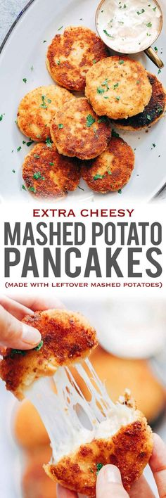 Leftover Mashed Potato Ham Pancakes are the best way to use up extra mashed potatoes after thanksgiving or christmas for a delicious, cheesy appetiser that everyone will go crazy for! These are like patties, cutlets or cheesy cakes and taste amazing serve Mashed Potato Pancakes, Cheesy Mashed Potatoes, Leftover Mashed Potatoes, Baked Potatoes, Potato Cakes, Potato Dishes, Food Dishes, Side Dishes, Veggie Dishes