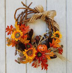 Jack O' Lantern Wreath - Pumpkin Wreath - Halloween Wreath - Fall Wreath - Halloween Decor