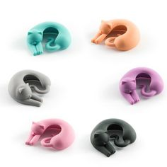 Cat Wine Charms: Set of 6 - Pastel Colours (Limited Edition)