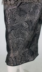 1920s silver and black metallic brocade  metallic lace dress... image 9