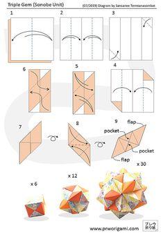 Kusudama Origami Diagram - PrwOrigami Origami Ball, Tulip Origami, Geometric Origami, Origami And Kirigami, Modular Origami, Paper Crafts Origami, Origami Flowers, Origami Hearts, Origami Boxes