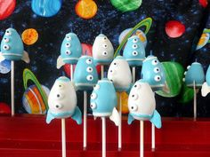 Love these rocket ship cake pops.