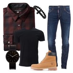 """""""Men outfit #casual #timberland #watch"""" by fedescar on Polyvore featuring Dsquared2, Timberland, Uniform Wares, men's fashion e menswear"""