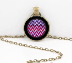 Blue Zig Zag Pattern Stripe Art Pendant Necklace Inspiration Jewelry by northstarpendants. Explore more products on http://northstarpendants.etsy.com