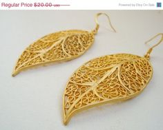 Buy 50% OFF SALE Leaf Earrings, Gold Filigree Leaf Earrings, Matte Gold Leaf Earrings, Gold Plate Large Leaf Dangles, Gold-Plated Leaves on Hypo by beadingtimes. Explore more products on http://beadingtimes.etsy.com