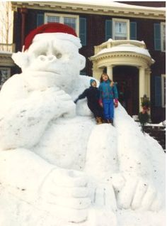 Halloween blizzard of 1991... Giant gorilla rises from snow of 1991 Halloween storm in Duluth, Minnesota .....