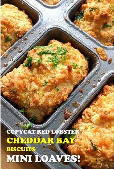 Easy Cheddar Bay Biscuits Recipe (Red Lobster Copycat) Easy Cheddar Bay Biscuit Recipe right from the oven. We love this mini loaf pan that makes two biscuits into one! Cheesey, garlic-y biscuits. Bisquick Recipes, Loaf Recipes, Cooking Recipes, Muffin Pan Recipes, Epicure Recipes, Cheddar Bay Biscuits, Cheese Biscuits, Cheese Cookies, Mini Loaf Cakes