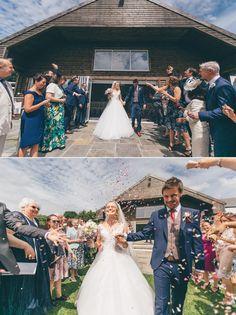 ©Rachel Lambert Photography   UK and International Destination Wedding Photographer Summer Wedding Llanerch Vineyard bride and groom confetti shot