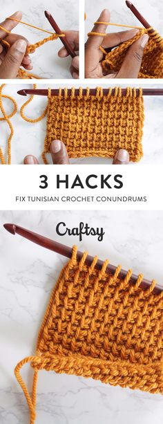After learning the basics of Tunisian crochet, it's time to show off all that hard work. But do you ever worry about bumpy bottoms, loopy left edges and the incessant curling? Never fear! Here are three simple Tunisian crochet hacks to make every project picture perfect. @craftsy