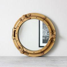 more nautical- ship port hole mirror Porthole Mirror, Window Mirror, Mirror Image, Mirror Mirror, Nautical Mirror, Cup Of Jo, Lakeside Cottage, Nautical Bathrooms, Steampunk