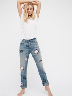 L'Adorable Boyfriend Jeans with Leather Patches | In a soft ridged denim, these boyfriend jeans feature western-inspired hand cut and hand placed leather patches.      * Non-stretch ridged denim.    * Dropped mid-rise.    * Four-pocket style.    * Button fly.    * Since the patched are hand applied, each pair will vary.