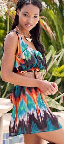 #Contest Hot Summer Days tribal beat trends from Wet Seal: Chiffon Ruffle Print Dress #WetSealSummer #Contest