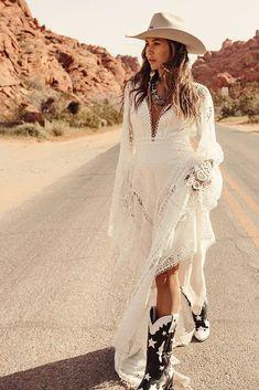 24 Cowgirl Boots Wedding Ideas For Country Celebration ❤ cowgirl boots wedding ideas lace boho gypsy rue de seine #weddingforward #wedding #bride #weddingoutfit #bridaloutfit #weddinggown