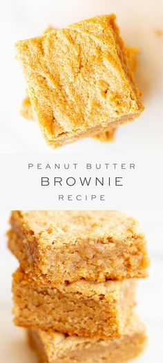 These peanut butter brownies are so quick and easy to make with just a handful of simple pantry ingredients and they are so heavenly to eat! Serve with ice cream as a dessert or for a delicious afternoon treat. These brownies will disappear in no time! Mini Desserts, Quick Easy Desserts, Healthy Dessert Recipes, Baking Recipes, Delicious Desserts, Party Desserts, Quick Desert Recipes, Quick Easy Brownies, Quick And Easy Sweet Treats