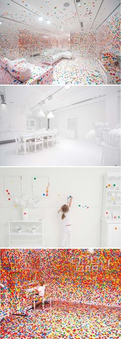 What started as a seemingly simple, delicate room turned into an amazing sticker installation. Yayoi Kusama masterminded this for the Gallery of Modern Art in Brisbane. Over the course of two weeks, children who visited the museum were given stickers to place where they wished. The installation, entitled The Obliteration Room.