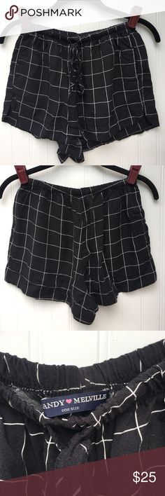 Brandy Melville grid shorts Black/ white grid shorts. Pockets on both sides. Drawstring waist. Approximately 11 inches in length. No flaws Brandy Melville Shorts