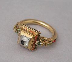 1890 Renaissance Revival ring by Louis Wiése, France, circa 1890 Renaissance Jewelry, Ancient Jewelry, Victorian Jewelry, Enamel Jewelry, Gold Jewelry, Jewelery, Jewelry Accessories, Art Nouveau, Art Deco