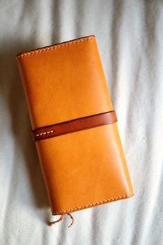 Hand Stitched Leather Strap Long Wallet by ArtemisLeatherware