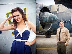vintage military patriotic engagement photos