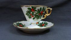 Ucagco Ceramics Japan December Holly Berry Teacup by EtagereLLC, $15.00