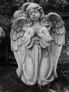 My Magical Journey Statue Tattoo, Angels Among Us, Angels And Demons, Cemetery Statues, Angel Warrior, Ange Demon, Hip Hop Art, Black And White Painting, Guardian Angels