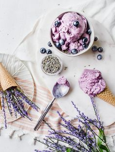 This creamy dreamy homemade gelato is made with blueberry, fresh lavender petals, and lemon juice for a sweet summer treat! It's made vegan and gluten-free, you'll be enjoying this soft serve gelato all summer long! Gelato Homemade, Homemade Ice Cream, Homemade Breads, Frozen Desserts, Frozen Treats, Tea Recipes, Ice Cream Recipes, Lavender Ice Cream, Vegan Ice Cream