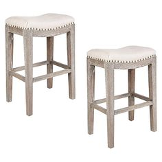 Indulge the details of your extra seating with the studded looks of the Boston Stool, Beige (Set of 2) from Alexander Santorini.
