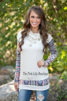 The Pink Lily Boutique - The Way It Should Be Aztec Sleeve Sweater Oatmeal , $39.00 (http://thepinklilyboutique.com/the-way-it-should-be-aztec-sleeve-sweater-oatmeal/)