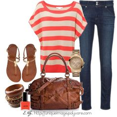 Daily Fashion Outfits 2012 - Coral Striped Top - http://goo.gl/QVbKRA