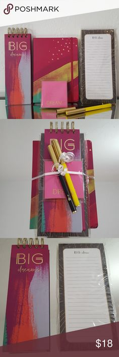 Leather Journal Stationary Office Supply Gift Set Teachers Gift!  Stocking Stuffers!  Hostess Gift!  Office Supplies! Includes: 1 faux leather hardcover journals 120 sheets each, gold foil stars, magenta pink 1 hardcover to do list flip book 1 pk stick notes  2 gold cap coordinating pens 1 magnetic to do list   Erin Condren, Kikki K, Happy Planner, Creative, Mambi, Heidi Swapp style items.   All profits go toward my sons college fund. Make an Offer! Thank you for visiting my closet. Me to We…